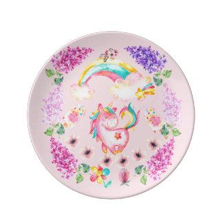Baby Unicorn playing  Decorative Porcelain Plate