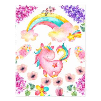 Baby Unicorn playing  garden unique gift Postcard
