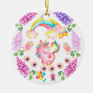 Baby unicorn playing in her garden Multi products Christmas Ornament