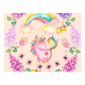 Baby unicorn playing in her garden Multi products Postcard
