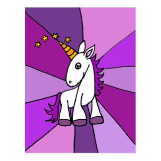 Baby Unicorn with Golden Horn Art Postcard