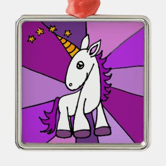 Baby Unicorn with Golden Horn Art Silver-Colored Square Decoration