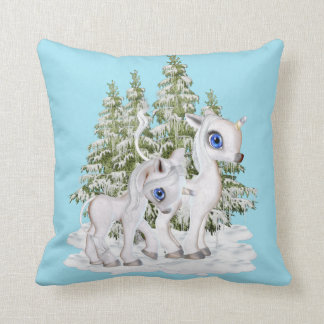 Baby Unicorns in the snow Throw Pillow