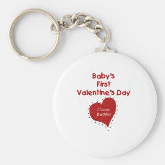 Baby Valentine I Love Daddy Basic Round Button Key Ring