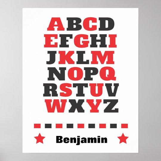 Baby visual stimulation red white black abc poster