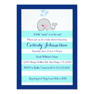 Baby Whale Little Squirt Boy Shower Invitation