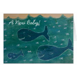 Baby Whale New Baby Congratulations Card Blue