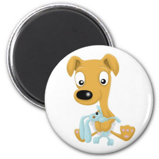 baby whippet and cuddly bunny 6 cm round magnet