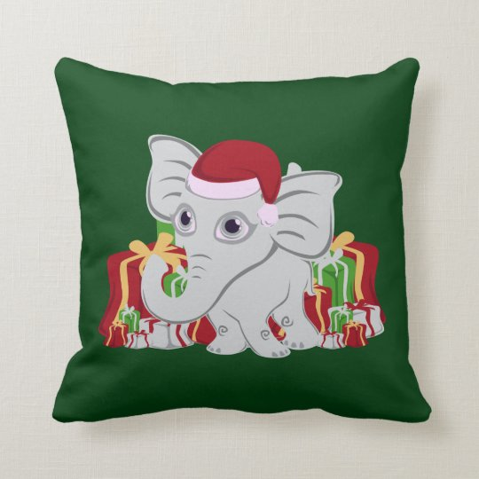 Baby White Elephant In Santa Hat With Presents