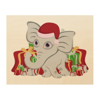 Baby White Elephant In Santa Hat With Presents Wood Canvases