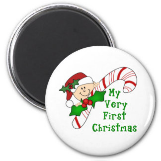 Baby with Candy Cane First Christmas 6 Cm Round Magnet