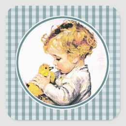 First easter stickers labels zazzle uk baby with chick babys first easter gift stickers negle