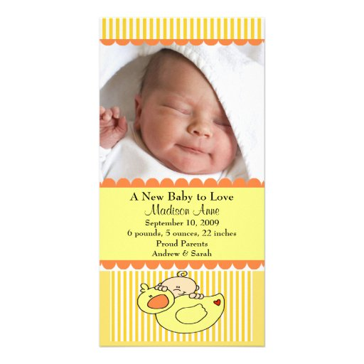 Baby with Duck PHOTO Birth Announcement Photo Greeting Card