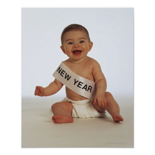Baby with New Year sash Poster