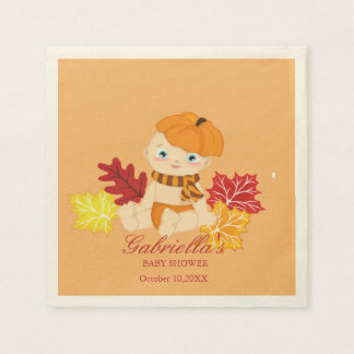 Baby With Pumpkin Baby Shower Personalize Napkin Disposable Napkin