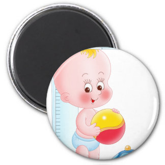 baby with toys magnets