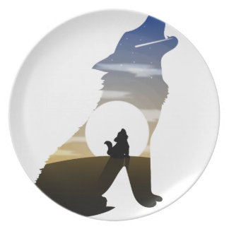 Baby wolf moon plate