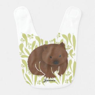 Baby Wombat on Olive Bib