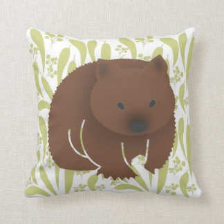 Baby Wombat on Olive Cushion