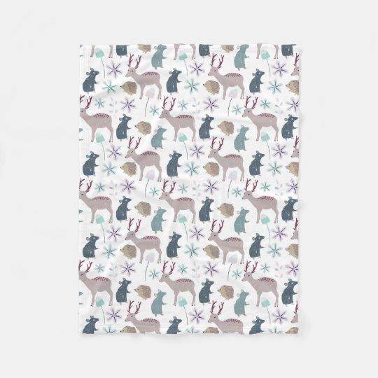 Baby Woodland Animal Creatures Fleece Blanket
