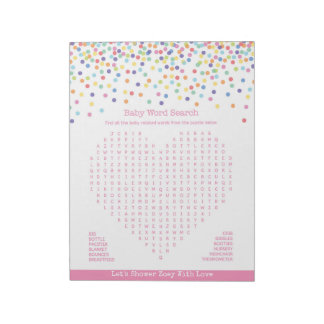 Baby Word Search Confetti Baby Shower Game Notepad