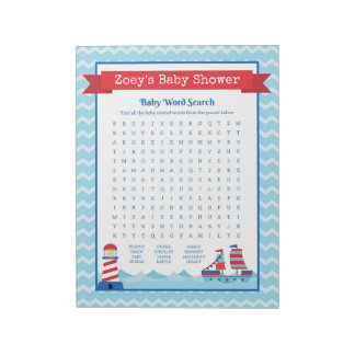 Baby Word Search Nautical Theme Baby Shower Game Notepad