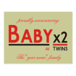 """Baby x 2, proudly announcing, The """"your name"""" f... Postcard"""
