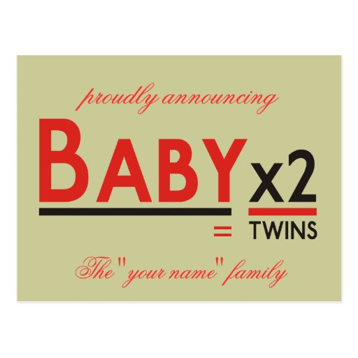 """Baby x 2, proudly announcing, The """"your name"""" f... Post Cards"""
