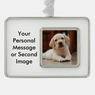 Baby Yellow Labrador Puppy Dog laying on Belly Silver Plated Framed Ornament