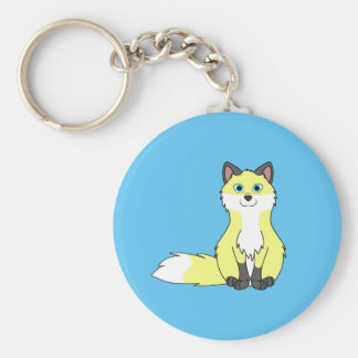 Baby Yellow Sitting Fox Kit with Dark Markings Basic Round Button Key Ring