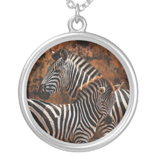 Baby zebra exclusive designer art silver plated necklace