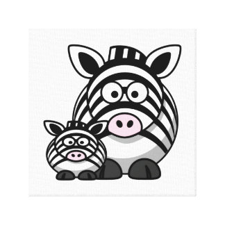 Baby Zebra Family, Cute Wild Safari Stretched Canvas Print