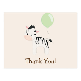 Baby Zebra, Green, Jungle Animal Thank You Postcard