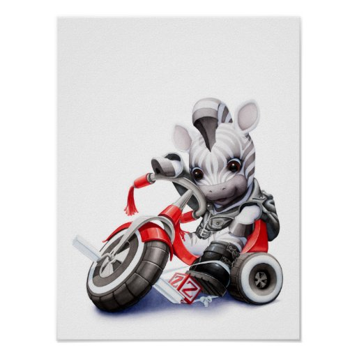 Baby Zebra Riding Red Tricycle Nursery Print