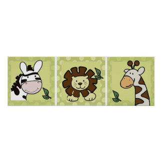 Baby Zoo Animals Giraffe Zebra Lion set of 3 Poster