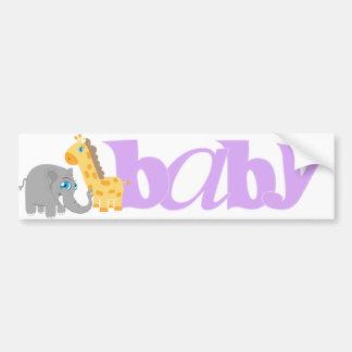 Baby Zoo Animals in Purple Bumper Sticker