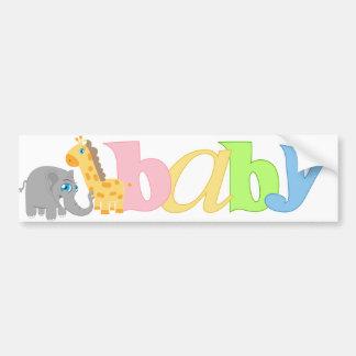 Baby Zoo Animals in Rainbow Pastel Bumper Sticker