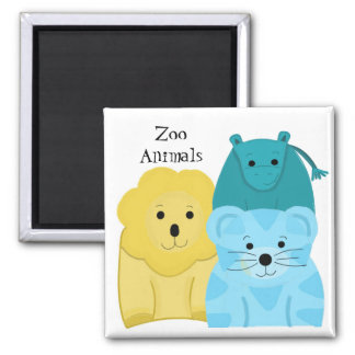 Baby Zoo Animals Square Magnet