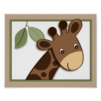 Baby Zoo Giraffe Jungle Animal Wall Art Print 8X10