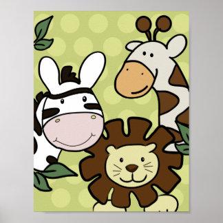 Baby Zoo GIRAFFE, LION & ZEBRA WALL ART Poster