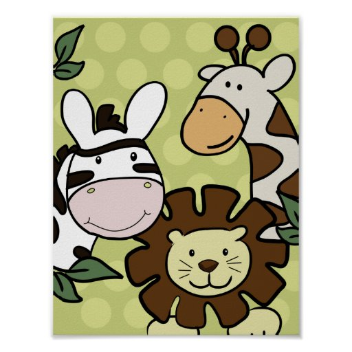 Baby Zoo GIRAFFE, LION & ZEBRA WALL ART Posters
