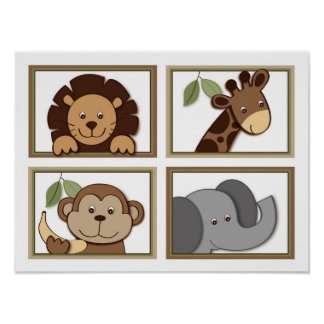 Baby Zoo Jungle Animal Nursery Wall Art Prints