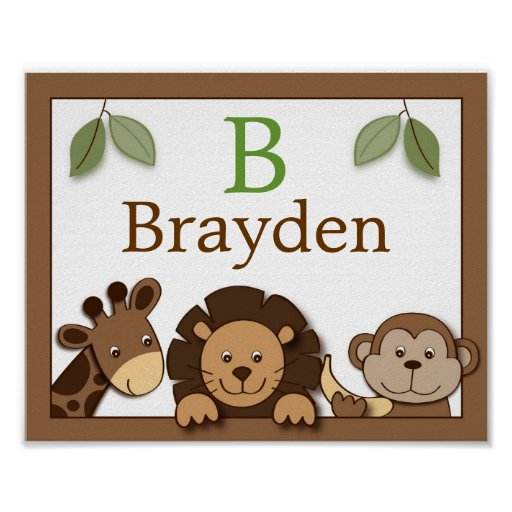 Baby Zoo Jungle Animal Personalised Name Art Print