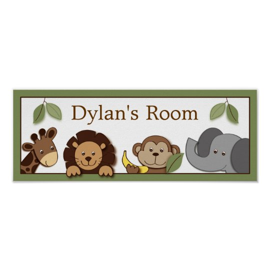 Baby Zoo Jungle Animals Baby Door Sign Art