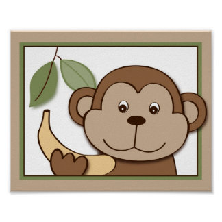 Baby Zoo Monkey Jungle Animal Wall Art Print 8X10