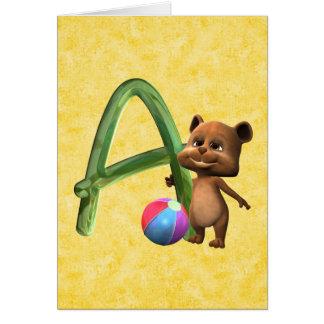 BabyBear Toon Monogram A Greeting Card
