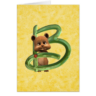 BabyBear Toon Monogram B Greeting Card