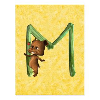 BabyBear Toon Monogram M Postcard