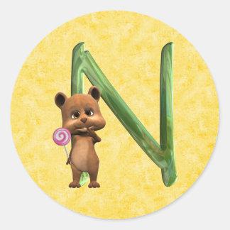 BabyBear Toon Monogram N Round Stickers