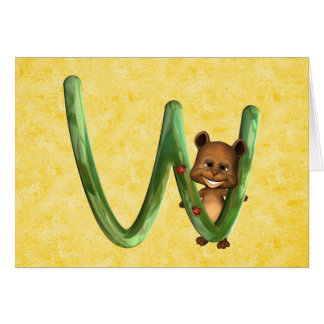 BabyBear Toon Monogram W Card